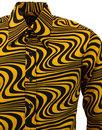 Heatwave CHENASKI Retro 70s Mod Op Art Wavy Shirt