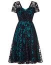 Collectif retro vintage 50s velvet rose lace dress