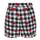 Collectif Jojo Women's Retro 1950s Vintage Watermelon Gingham Shorts