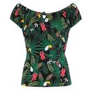Collectif Lorena Tropicalia Women's Retro 1950s Vintage Top
