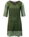 darling brandie retro crochet tunic dress olive