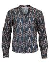 darling harley herringbone op art shirt blue mod