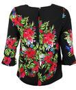 Raquel DARLING Retro 1950s Floral Pattern Top