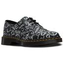dr martens 1461 script protest shoes black
