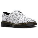 dr martens 1461 womens script shoes white/black