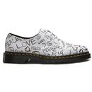 DR MARTENS Womens 1461 Script Protest Shoes W/B