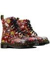 DR MARTENS Pascal FC Retro 1960s Mod Floral Mix Leather Boots