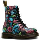 DR MARTENS Womens Retro 1460 Rose Fantasy Boots