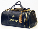 DUNLOP RETRO CRACKED VINTAGE HOLDALL BAG NAVY