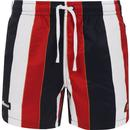ellesse mens comnago drawstring waist stripes swim shorts navy red white