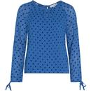Emily and Fin Stephy Retro Vintage Sheer Top Blue