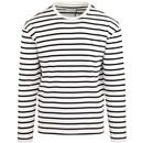 farah vintage bain long sleeves round neck stripe black white ecru