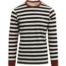 farah vintage mens belgrove retro stripe ringer long sleeve tshirt black white burnt red