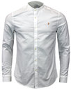farah brewer retro mod grandad collar oxford shirt