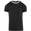Farah Groves Men's Retro Mod Ringer T-shirt in Deep Black