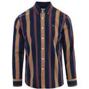 Farah Laird Retro Mod Bold Stripe Oxford Shirt in True Navy