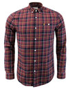 farah oldman button down check shirt red
