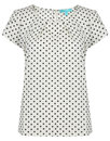Fever Designs Retro Mod Tulip Polka Dot Top White