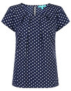 Fever Designs Retro Mod Tulip Polka Dot Top Navy