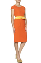 Lyon FEVER Retro 60s Mod Pencil Dress (Orange)