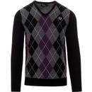 Fred perry argyle v neck jumper in black