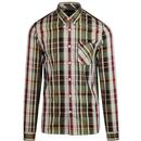 Fred Perry 1960s Mod Bold Check Button Down Shirt in Port