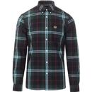 Fred Perry bold check button down shirt dark carbon