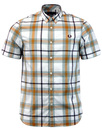 fred perry bold check shirt silver blue