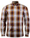 fred perry bold tartan check shirt mustard