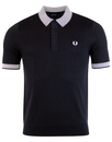 fred perry checker board trim knitted polo black