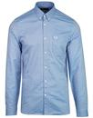 fred perry classic long sleeve oxford shirt blue