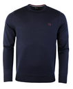 fred perry crew neck sweater dark carbon