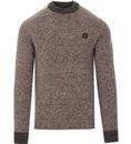 FRED PERRY Retro Irish Donegal Knitted Wool Jumper grey