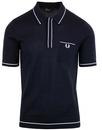 fred perry fine tipped knitted polo navy