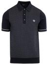 fred perry knitted jacquard polo shirt navy