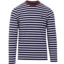 fred perry long sleeve stripe t-shirt french navy