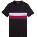 fred perry marl multi stripe t-shirt black