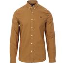 Fred Perry micro houndstooth check shirt mustard