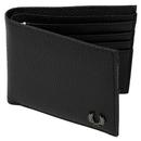 fred perry scotch grain bi-fold wallet black