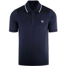 Fred Perry retro mod texture front knitted polo shirt in navy
