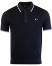 fred perry tipped knitted polo navy