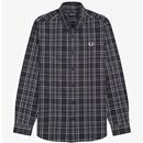 Fred Perry tonal check button down mod shirt black
