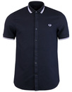 fred perry twin tipped waffle shirt navy