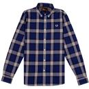 FRED PERRY Mens Retro Marl Winter Marl Check Shirt blue