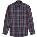 fred perry winter tartan twill check shirt mahogany