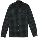 fred perry zip pocket tartan check shirt dark carbon