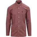 fred perry mens retro mod two colour gingham long sleeve shirt peach blossom black