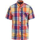 fred perry mens madras retro mod check short sleeve shirt multicolour red