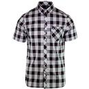 fred perry mens tartan short sleeve shirt black white red