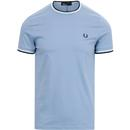 fred perry mens twin tipped crew neck tshirt sky white